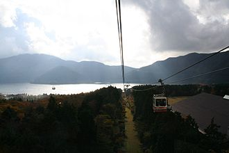Hakone - Lake Ashi from Hakone Ropeway, a major tourist attraction in Hakone