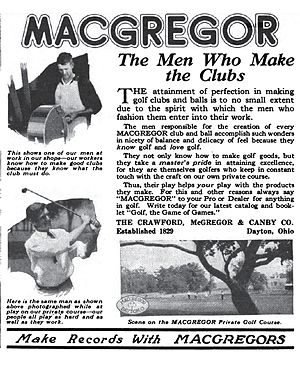 MacGregor Golf - Image: Mac Gregor ad 1922