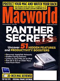 "A magazine cover with a large headline reading ""Panther Secrets"" and a photo of a computer"