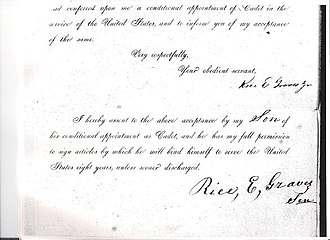 Rice E. Graves - Copy of the official document by Rice E. Graves, Sr., granting his permission for his son to attend the military academy.