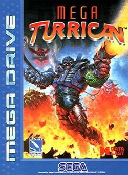 "Artwork of a vertical rectangular box. The left and bottom sides are covered by a blue ribbon that says, on top-left, ""Mega Drive,"" and on the bottom, ""Sega."" The rest of the box consists of a painting depicting a soldier wearing a futuristic armor and firing a gun. On the topside of this painting it says, ""Mega Turrican."" And on the bottom, at each side, appear the logos of Sony Electronic Publishing and Data East."