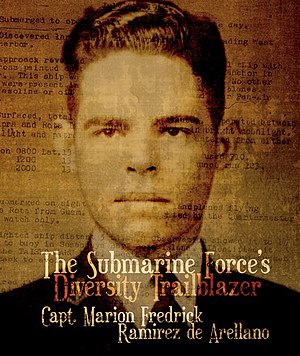 "Marion Frederic Ramírez de Arellano - Midshipmen Ramirez de Arellano on the cover of ""The Submarine Forces Diversity Trailblazer"""