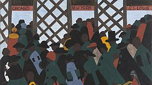 Great Migration (African American) - During World War I there was a great migration north…, first panel of the Migration Series (1940-41), painting by Jacob Lawrence