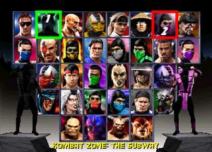 Mortal Kombat Trilogy - Character select screen from the CD versions of the game