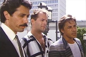 "Miami Vice - Edward James Olmos, Bruce Willis (center), and Don Johnson in the episode ""No Exit"""