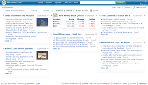 Windows Live Personalized Experience - A screenshot of Live.com customizable homepage