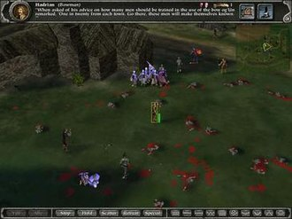 """Myth (series) - Screenshot of Soulblighter, showing the selection of a single unit. The player has selected a bowman named Hadrian. At the top of the screen is the Status Bar, showing Hadrian's """"Flavour Text"""" (i.e. a mini-bio)."""