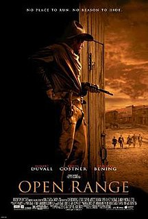 <i>Open Range</i> (2003 film) 2003 American western film directed and co-produced by Kevin Costner, starring Robert Duvall, with Annette Bening, Michael Gambon, and Michael Jeter