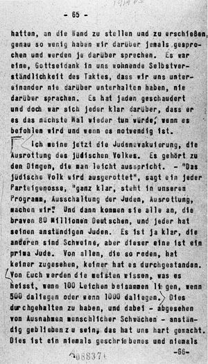 Posen speeches - Authorised by Himmler himself, this original page of the final edition of his speech made on 4 October 1943 bears the Reichsführer-SSs statements to his audience that the extermination of the Jews, a policy of the Nazi state, is being carried out.
