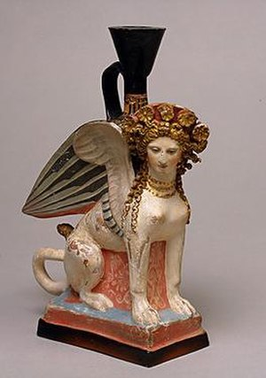 "Phanagoria - A terracotta vessel in the shape of a sphynx, 5th century BC. One of 26 similar pieces discovered in a feminine necropolis (""Demeter's priestess"") near Phanagoria. On exhibit at the Hermitage Museum in St. Petersburg."
