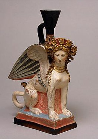"Phanagoria - A terracotta vessel in the shape of a sphinx, 5th century BC. One of 26 similar pieces discovered in a feminine necropolis (""Demeter's priestess"") near Phanagoria. On exhibit at the Hermitage Museum in St. Petersburg."
