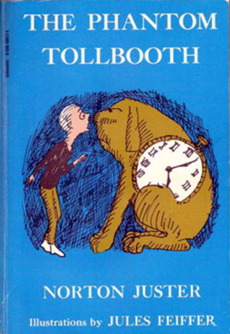 The Phantom Tollbooth - Milo and Tock on the cover of the book (same Feiffer illustration as 1st ed.)