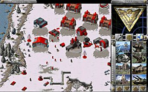 Command & Conquer: Red Alert - In-game beta screenshot of a Soviet base on the PC version.
