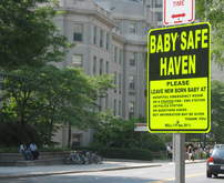 Baby Safe Haven sign in Boston, MA.