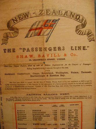 Immigration to New Zealand - A poster of the Shaw, Savill & Albion Line promoting immigration to New Zealand in the 1850s, featuring the flag of the United Tribes of New Zealand.