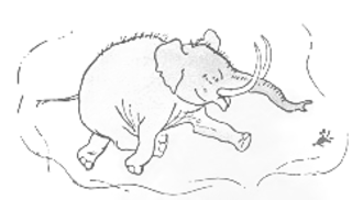 """Heffalump - Piglet dreams of the Heffalump. E. H. Shepard's original illustration, from Winnie-the-Pooh, shows the """"elephant"""" inspiration"""