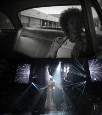 Memories (Hugh Hopper song) - In the first frame, Houston look-alike is riding a cab to the recording studio. In the second frame, Siti is on the stage with Houston in the recording studio is visible on the backdrop.