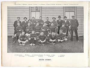 History of the South Sydney Rabbitohs - The South Sydney rugby union team of 1902 which included Arthur Hennessy, South Sydney rugby league club's first captain and coach. The rugby union club sported the original famous red and green colours.