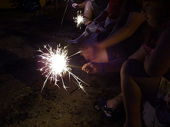 Sparklers on the Fourth of July in Lewiston Maine