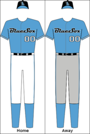 Sydney Blue Sox's home and away uniforms.