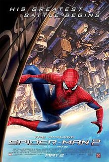 Spider-Man upside down on the side of the OsCorp tower with the film's title, credits and release date below.