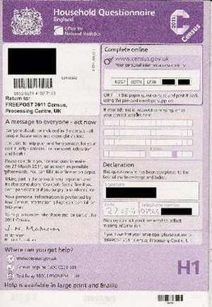 United Kingdom Census 2011 - Front page of the 2011 census form.