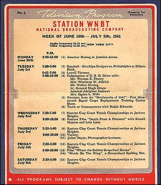 WNBC - Schedule for the first day of commercial broadcasting for WNBT (now WNBC) July 1, 1941.