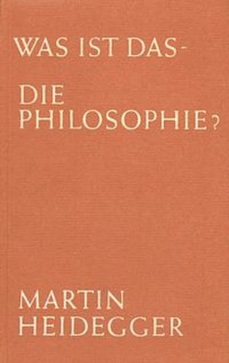 What is Philosophy? (Heidegger) - Cover of the first edition