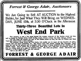 Westview, Atlanta - Advertisement in The Atlanta Constitution for West End Park lot sales, June 9, 1910