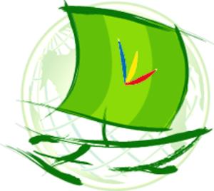 WikiPilipinas - The WikiPilipinas logo, featuring a green Muslim vinta which a logo of the colors of the Philippine Flag was superimposed.