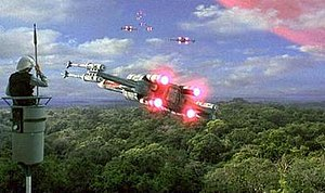 Yavin -  A Rebel sentry watches over the Rebel Base.
