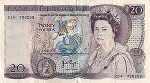 Bank of England £20 note - £20 note, issued from 1970 to 1991