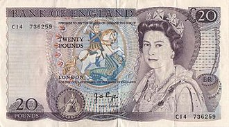 "Bank of England £20 note - ""Series D"" £20 note, issued from 1970 to 1991."