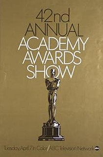 42nd Academy Awards Award ceremony presented by the Academy of Motion Picture Arts & Sciences for achievement in filmmaking in 1969