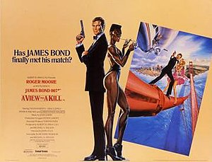 A View to a Kill - British cinema poster for A View to a Kill, illustrated by Dan Gouzee
