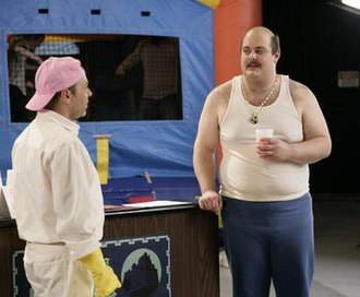 Last Last One Forever and Ever - H. Jon Benjamin as Don Shake (left) standing next to David Long, Jr., who won a contest sponsored by Burger King to play the live action version of Carl Brutananadilewski.