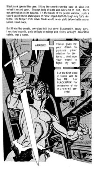 Graphic novel - Detail from Blackmark (1971) by scripter Archie Goodwin and artist-plotter Gil Kane.