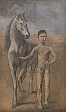 A picture of a young man outdoors, leading a horses.