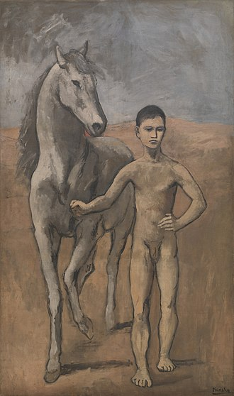 Picasso's Rose Period - Boy Leading a Horse, 1905-06, oil on canvas, 220.6 cm × 131.2 cm (86.85 in × 51.65 in), Museum of Modern Art, New York
