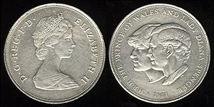 British twenty-five pence coin - Image: British coin 25p (1981)