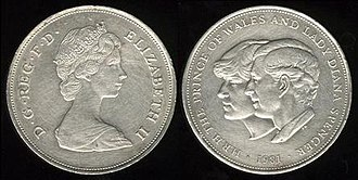 Coins of the pound sterling - 1981 commemorative twenty-five pence coin, celebrating the marriage of Prince Charles and Lady Diana Spencer.