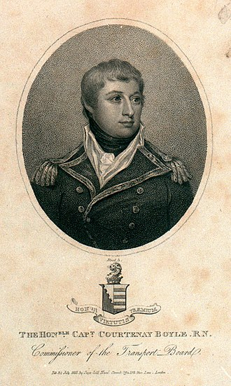 Courtenay Boyle - Admiral Courtenay Boyle, 1813, engraving by Joyce Gold. Below are the arms of Boyle impaling Barry of eight or and gules (Poyntz)