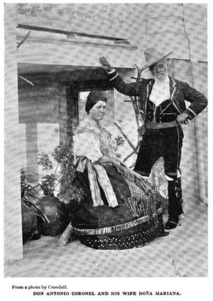 Antonio F. Coronel - Doña Mariana and Don Antonio Coronel, from a photo published in the Overland Monthly in 1895