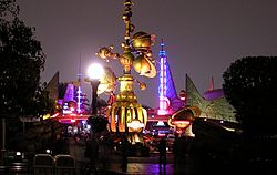 DL tomorrowland entrance at night.jpg