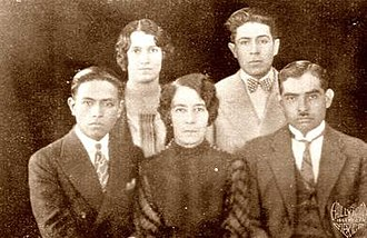 Elisa Acuña - Members of the 6th Mexican Cultural Mission (1927). Left to right: Jesús Camacho Arce, Raquel Portugal, Elisa Acuña Rossetti, Samuel Pérez and Albino L. López