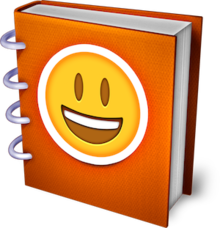 An orange book with a yellow smiley face on the cover.
