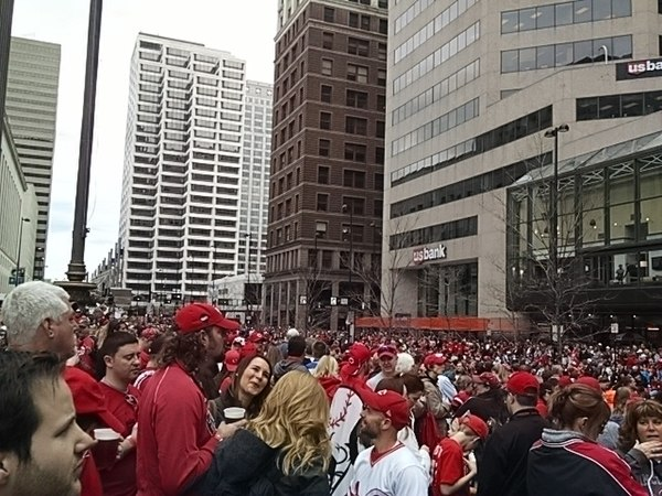 The Findlay Market Parade at Fountain Square in Downtown Cincinnati in 2015. The parade has been held annually since 1920 to celebrate Opening Day in Cincinnati. FindlayMarketParade.jpg