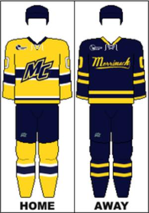 Merrimack Warriors men's ice hockey - Image: HE Uniform MC