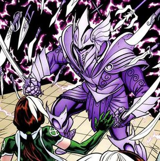 Indra (comics) - Indra using his advanced armor and weaponry manifestation powers against Rogue.