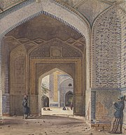 'The Jumma Musjeed in Thatta, Scinde: commenced by Shahjahan and finished by Urungjebe. 'Water-colour, 'T. Wingate. Queen's Royal Regt. 1839'
